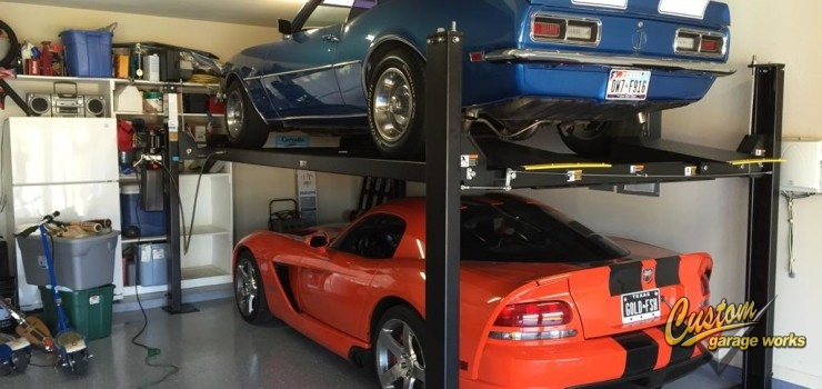 Adding space with a 4 post lift custom garage car lift for Over car garage storage