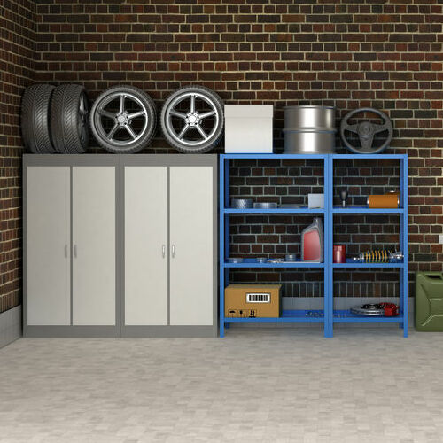 A Garage With Custom Flooring, Cabinets, and Shelves.