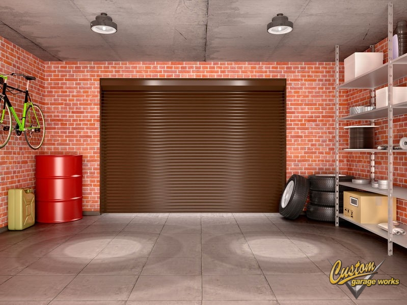Interior Garage with Tools, Shelves, Lighting