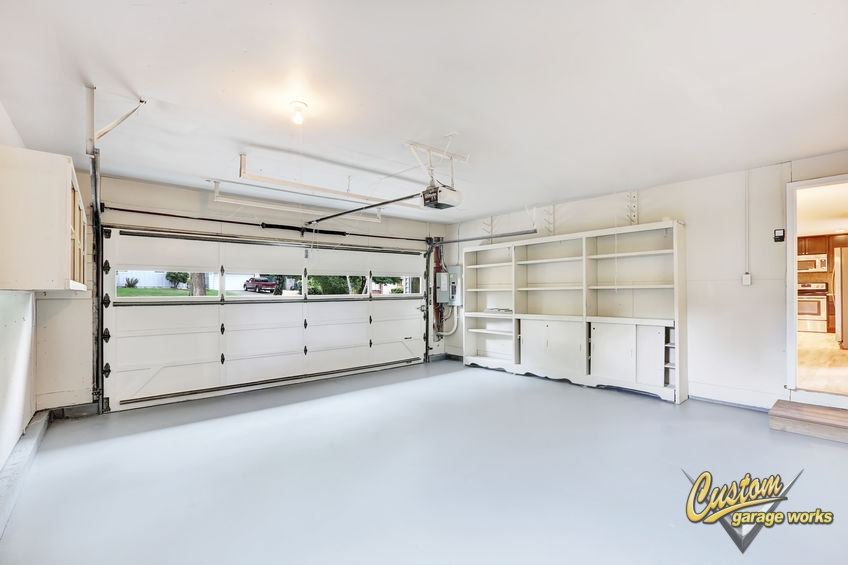 Empty Garage Interior With White Floor