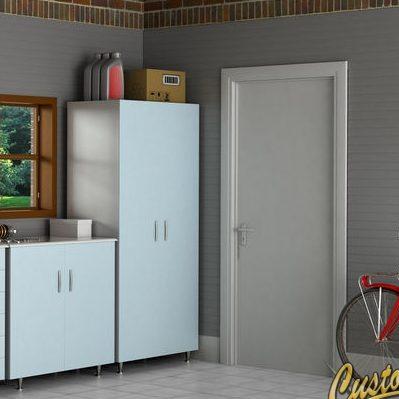 White Garage Storage Cabinets in a Garage.